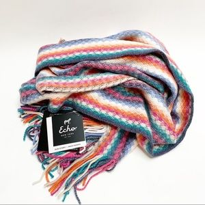 Echo Multi Colored Fringe Scarf NEW WITH TAGS